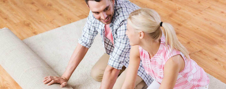 Couple on hardwood floor